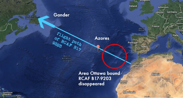 Map showing the flight path of Hillcoat's B17 heading back to Ottawa and where it was presumed to have disappeared.