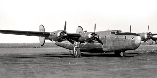 A new B24 bomber ready for mail duty at Rockcliffe, Ottawa 1944.