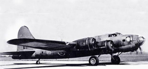 "USAF file photo of Hillcoat's B17-9203 painted in RCAF markings. Note serial number ""9203"" painted on the nose."