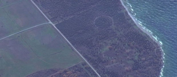 Ring shape in a field as seen from the air near Point Petre.