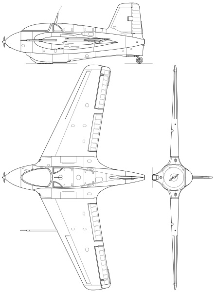 Schematic drawing of the Me163 Komet