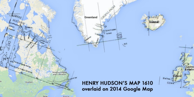 Hudson's quite accurate 1610 map overlaid on a current Google map of the same areas.