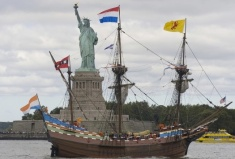 "A replica of Henry Hudson's 1609 ship ""Half Moon"" sails into New York City harbour during 2009 celebrations."