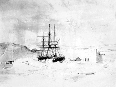 "Hudson's ship ""discovery"" trapped in James Bay ice November 1610."
