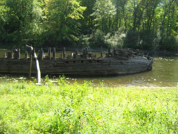 After a short hike we parted the trees and sure enough, there was a shipwreck.