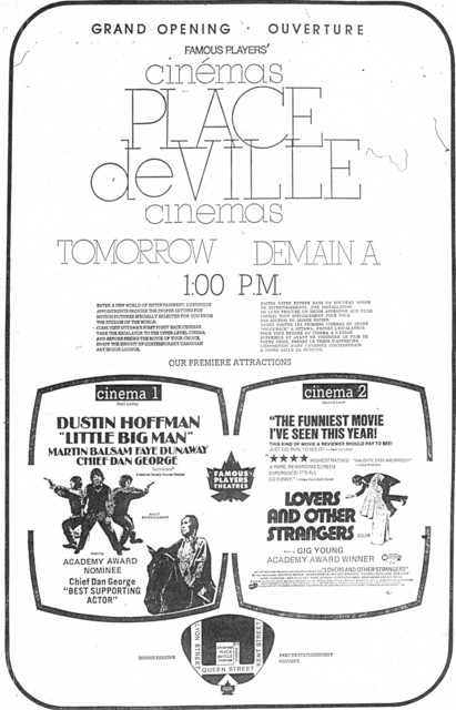 Newspaper ad for the grand opening of the new Place De Ville Cinema April 1 1971.