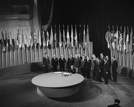Representatives from around the world gathered in San Francisco in 1945 to form the United Nations. PM Mackenzie King flew there in his new plane to sign the charter.