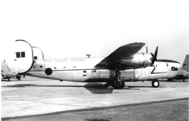 Prime Minister Mackenzie King's newly modified B24 plane sporting a new interior Prime Minister's office, kitchen, washroom, new windows and a new paint scheme. 1945