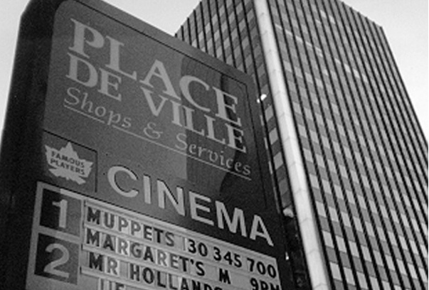 The theatre's marquee sign on its last day March 18 1996.
