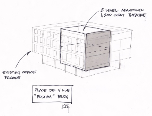 quick sketch showing how the theatre sits inside the Podium buildings, shielded by an exterior shell of government offices.
