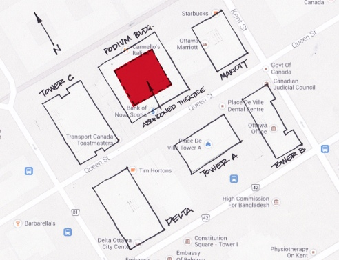 Map showing the location of the concealed 1,200 seat movie theatre in downtown Ottawa.