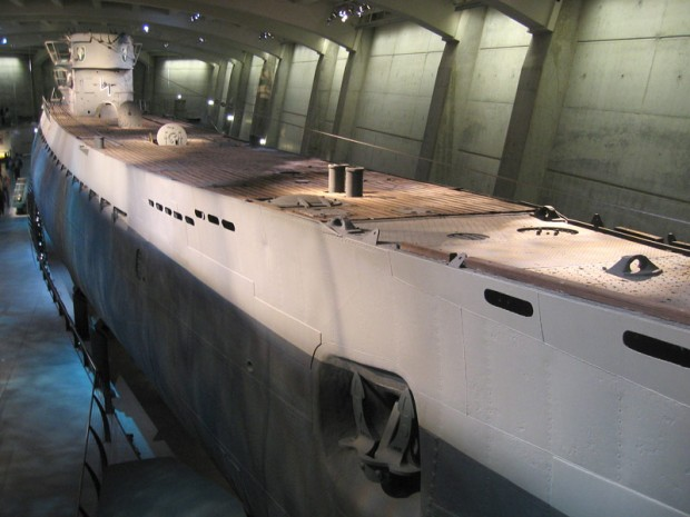 Captured German U-boat U-505 that was towed down the St. Lawrence River and through the Great Lakes in 1954 to Chicago.