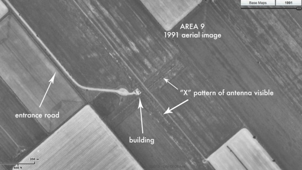 a 1991 aerial image showing Area ( and what was there at the time.
