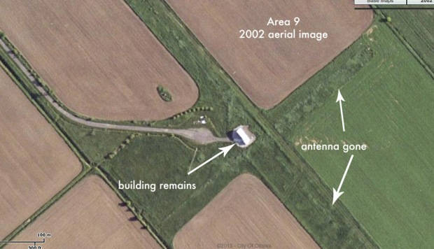 A 2002 aerial image shows that Area 9 has changed with farm fields taking over.