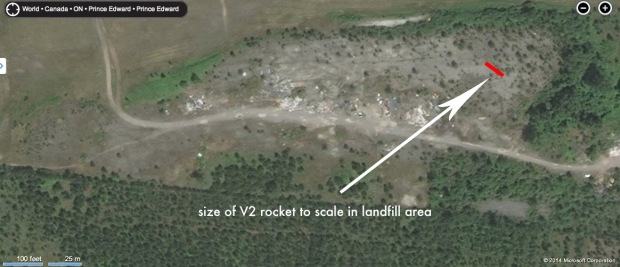 The landfill area at Camp Picton as it looks today. The lost V-2 rocket could very well lie below its surface.