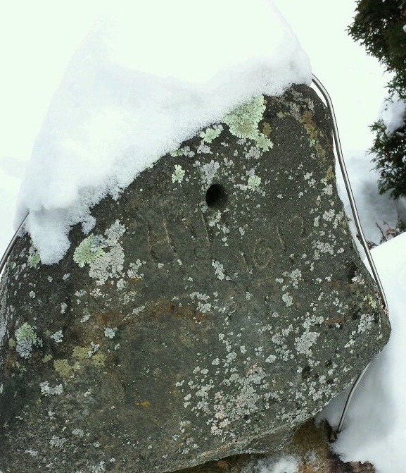 "The Hudson Stone as photographed on February 5th 2014. Inscribed with ""HH 1612 CAPTIVE"". No forensic archeologic studies have been done on the artifact. (Photo courtesy D.Pilgrim)"
