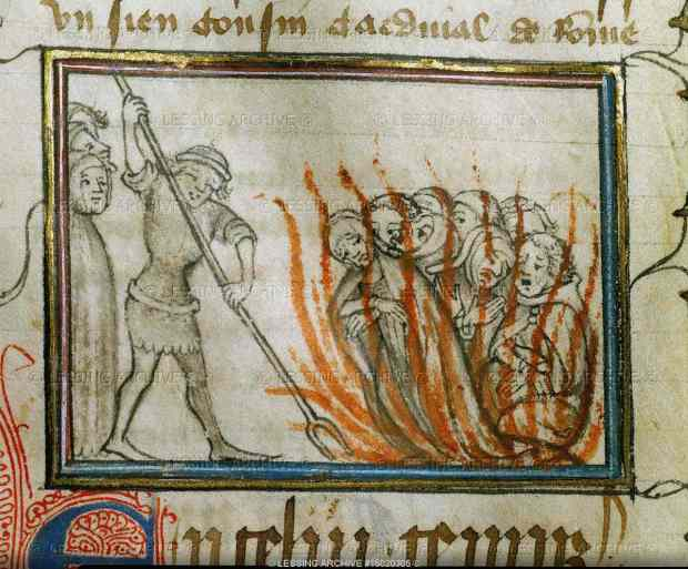 Knights Templar being burned at the stake on Friday the 13th 1307.