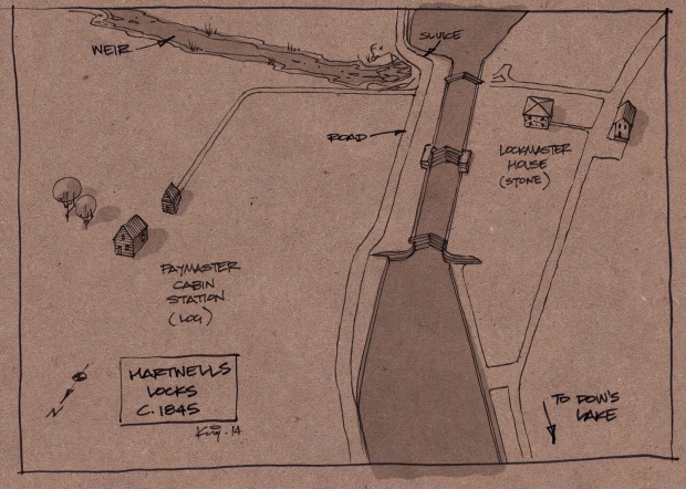 A sketch of Hartwells Locks as it may have appeared in 1845.