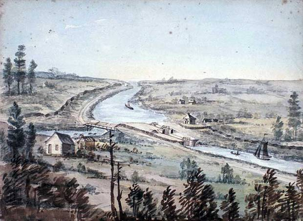 A sketch of Hartwells Locks from 1845 showing the paymaster cabins in the foreground, across the canal from the lockmaster's house.