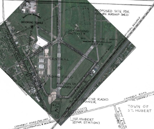 The same map overlaid on a current map of the airport. Note the tower has since been demolished.