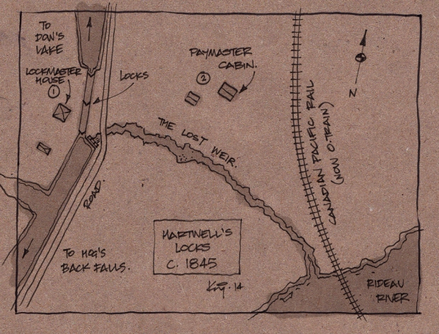 Map sketch of the area in 1845. Note bywash weir.