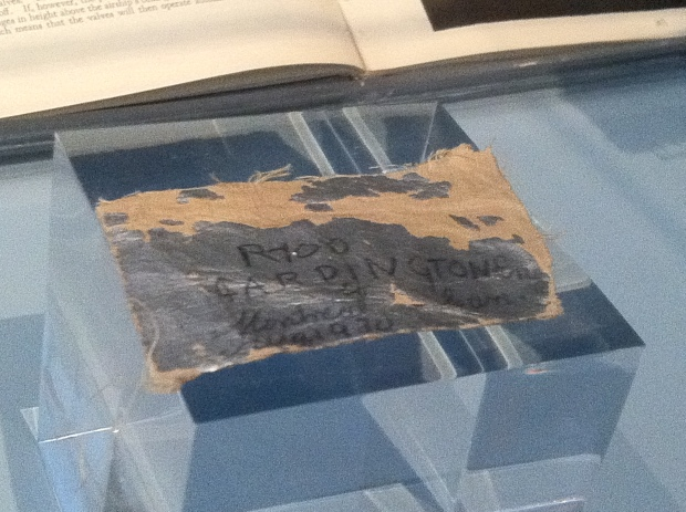 Fragment of linen covering from the R100 at the Aviation Museum.