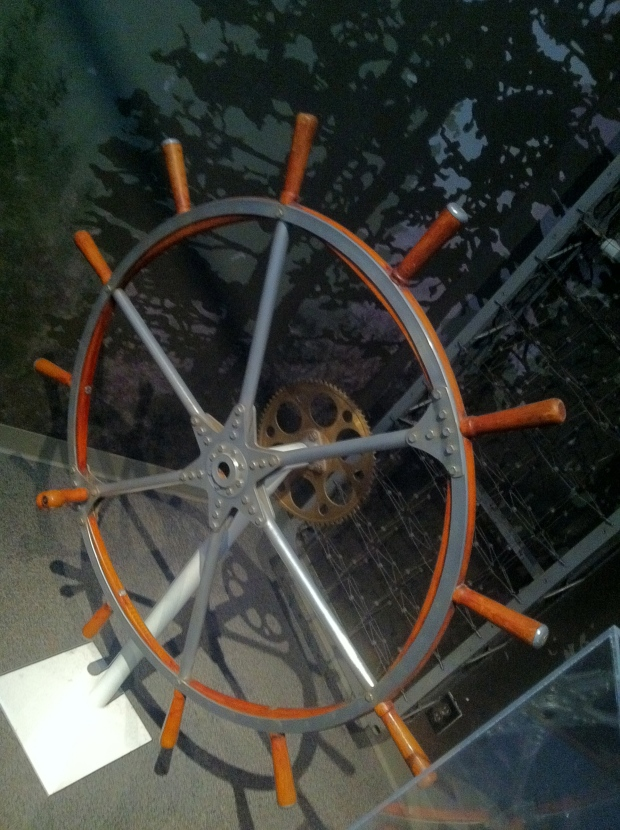 One of the original R100 control steering wheels on display at the Aviation Museum.