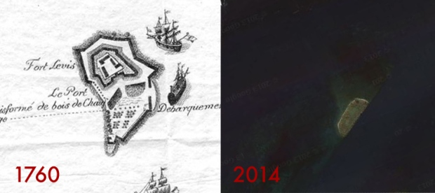 Comparison of the island then and now.