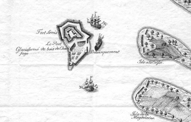 A French map from 1759 indicates Isle Royale and Fort Levis built upon it.