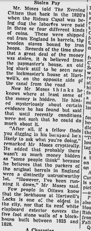 Article from a 1956 Ottawa Citizen outlining the legend of the buried silver at Hartwells Locks