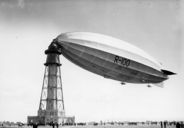 The specially built mooring mast tower for the R100 at St. Hubert airfield just outside Montreal.