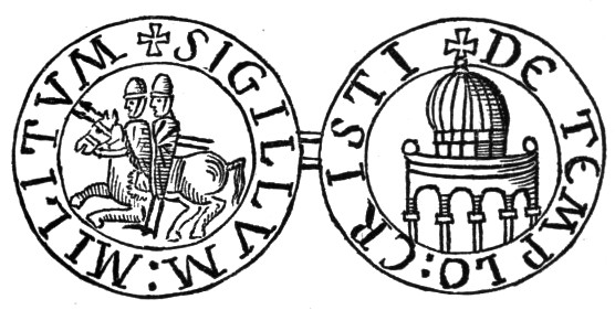 The original seal of the Knights Templar. Their Temple on right.