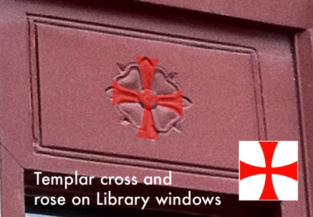 Note the hidden Templar cross that sits perfectly in the negative space of the rose symbol on the Library.