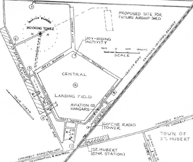 Original map showing the St. Hubert airfield with the location of the airship mooring mast and hopeful future mast.