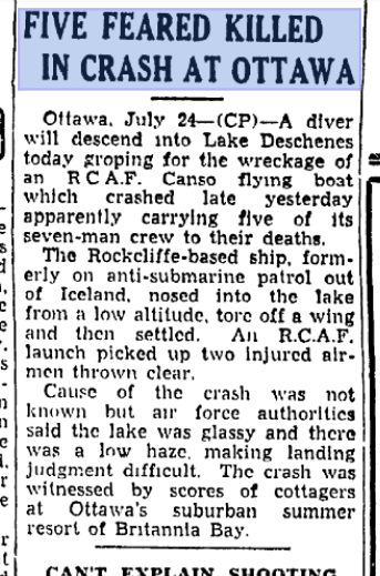 Original Ottawa Citizen newspaper article reporting the tragic crash near Britannia.