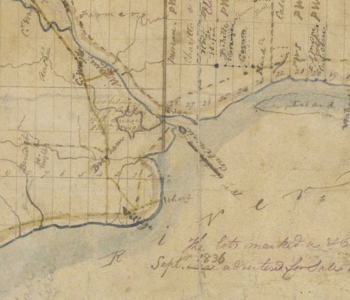 A map from 1836 that shows Philemon Wright's land grant.