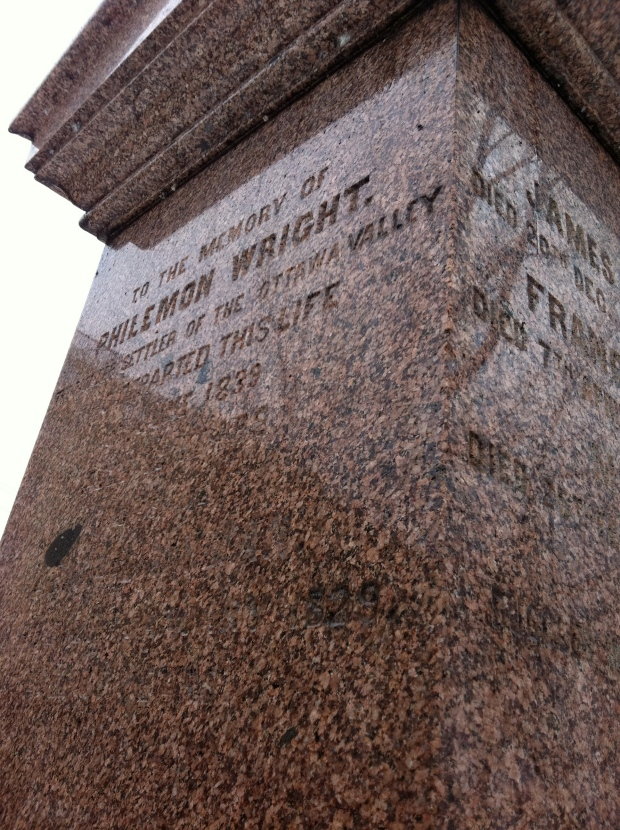 Gravestone of Philemon Wright, just west of the Chaudiere Bridge.