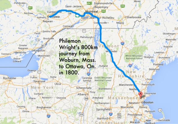 Wright's 1800 journey northward from Massachusetts to Ottawa.