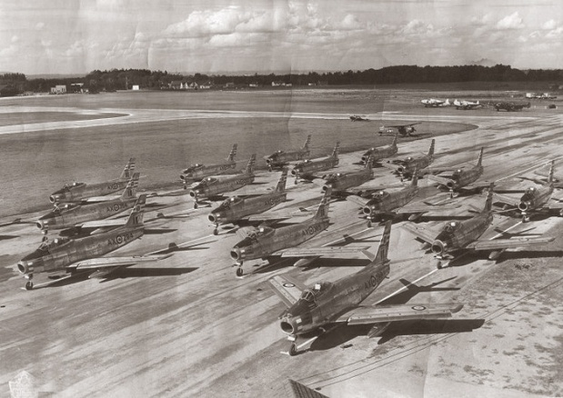 Ottawa's Upland Air Force Base in the 1950s. The railway to the airport was built to carry construction equipment used to expand the new air base. (photo Vintage Wings Of Canada)