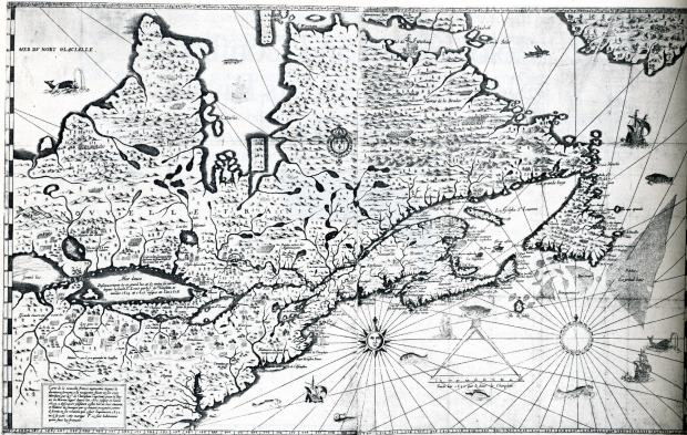 Champlain's 1632 map of his explorations in the New World.