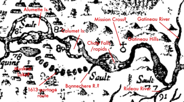 Specific landmarks are noticeable on Champlain's 1632 map, such as Chats Falls and the islands.