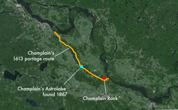 Champlain's route in 1613 with points of interest marked.