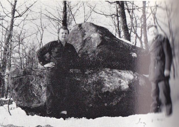 The Champlain Stone and the two men who discovered it in 1953.