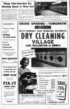 Original Norge Village Laundry ad in the 1961 Ottawa Journal.