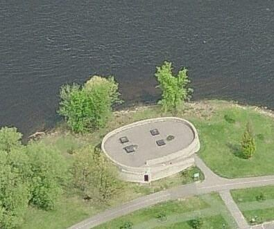 Aerial view of the concrete structure at Remic Rapids.