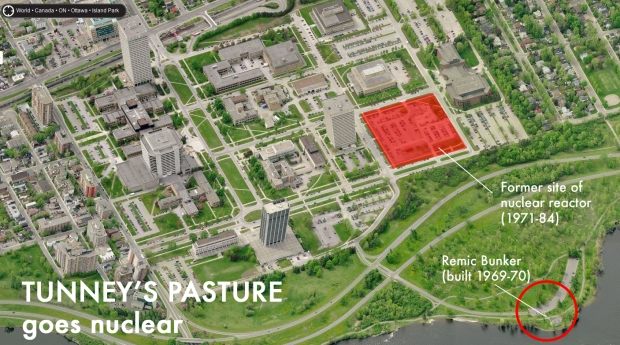 Aerial image showing the proximity of the Remic Bunker to the Tunney's Pasture Nuclear Reactor site.