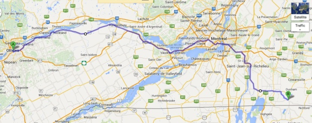 """You take this route 17 back to Montreal, get on to 37 over the bridge at St Anne's and then over the river again on to 7. Follow 7 on down to Pike River. Get on 52 at Stanbridge. Turn right in Stanbridge for Frelighsburg and leave the car in a garage there."" - Google map of the exact same route accurately described by Fleming."