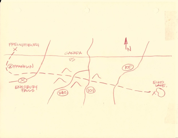 "sketched map of Prohibition smuggling path across from Canada into the United States. ""Colonel Johns went back to his chair and took two more pieces of paper off the file. The first was a scrap of pencilled map, the other a section of aerial photograph. """
