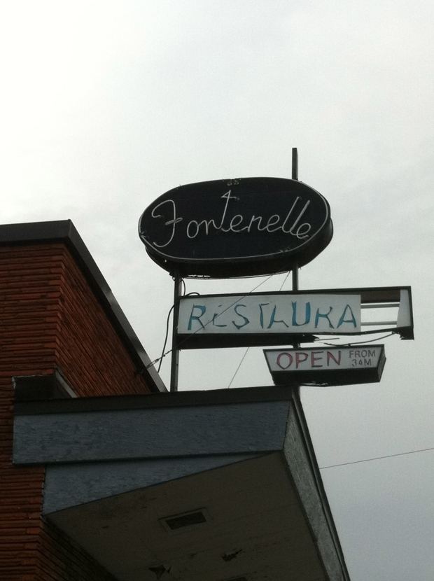 The original Fontenelle sign as it appears today.