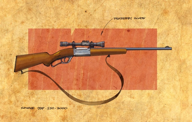 """Rifle. Went down myself and put it in the boot of your Plymouth while you were waiting. One of the new Savage 99Fs, Weatherby 6 x 62 'scope, five-shot repeater with twenty rounds of high-velocity .250-3.000."""